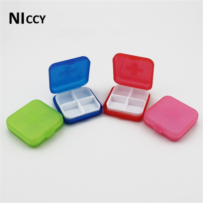 1pc Square Medical Kit Pill Jewelry Organizer Storage Box 4 Colors Select Travel Portable Box For Sundries 2017 New Fashion(China (Mainland))