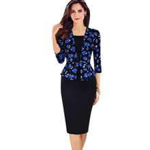 Womens Peplum Elegant Retro Faux Twinset Tartan Floral Orchids Patchwork Wear to Work Business Pencil Sheath Bodycon Dress