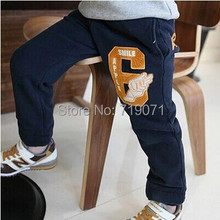 children boy pants 2015 autumn and winter letter boys clothing girls clothing child fleece long trousers casual pants(China (Mainland))