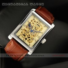 MINGEN SHOP – Classic Fashion Gold Dial Men Watch Brown Leather Strap Hollow Mechanical watch GRJ006 watch wholesale