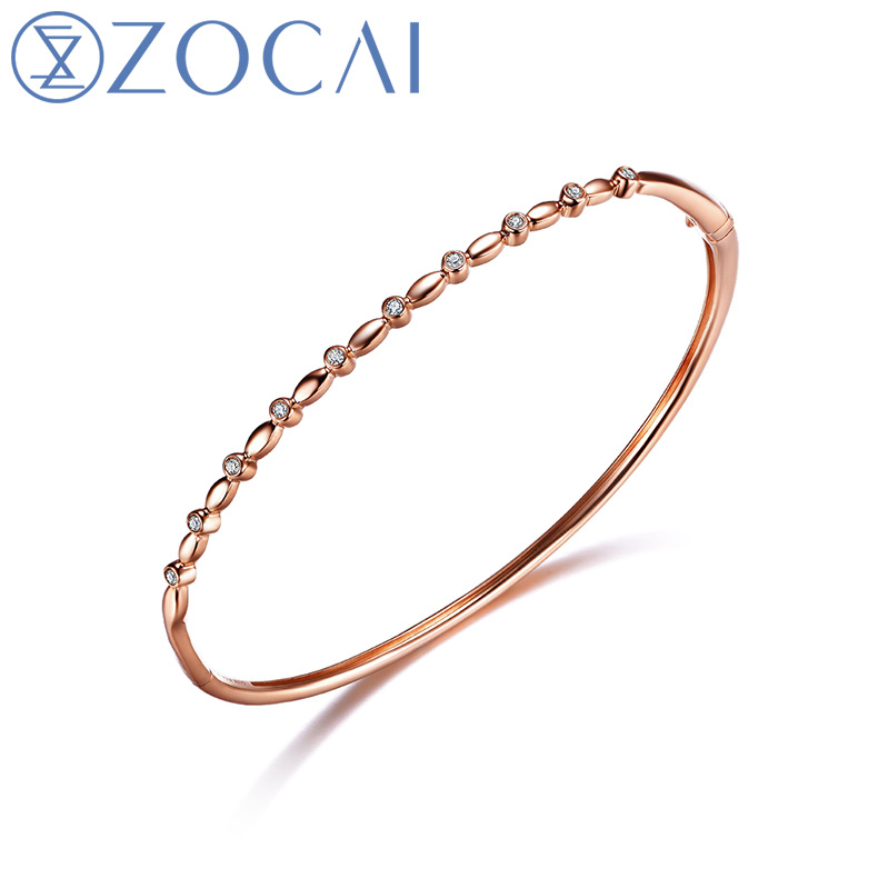 ZOCAI Real Natural 0.1CT Diamond Certified I-J / SI in 18K Rose Gold (AU750)  Bangles S00635<br><br>Aliexpress