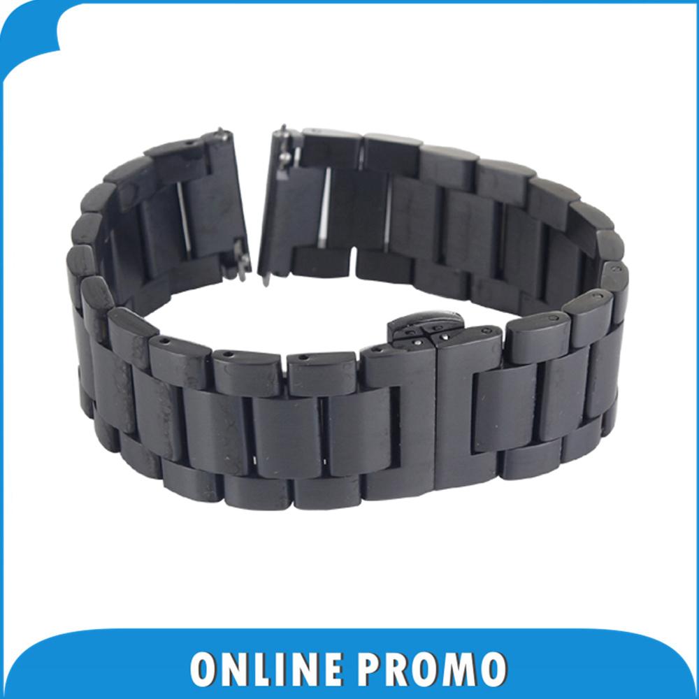 22mm Stainless Steel Watch Band Buckle Strap Bracelet for Samsung Gear 2 R380 R381 R382 Motorola Moto 360 2nd 46mm 2015 Black<br><br>Aliexpress