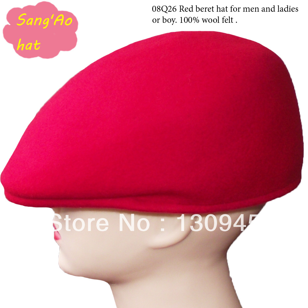 Fashion new Red peak hats for men and ladies 100% wool felt wear in winter ,fall ,spring and keep warm cheap price(China (Mainland))