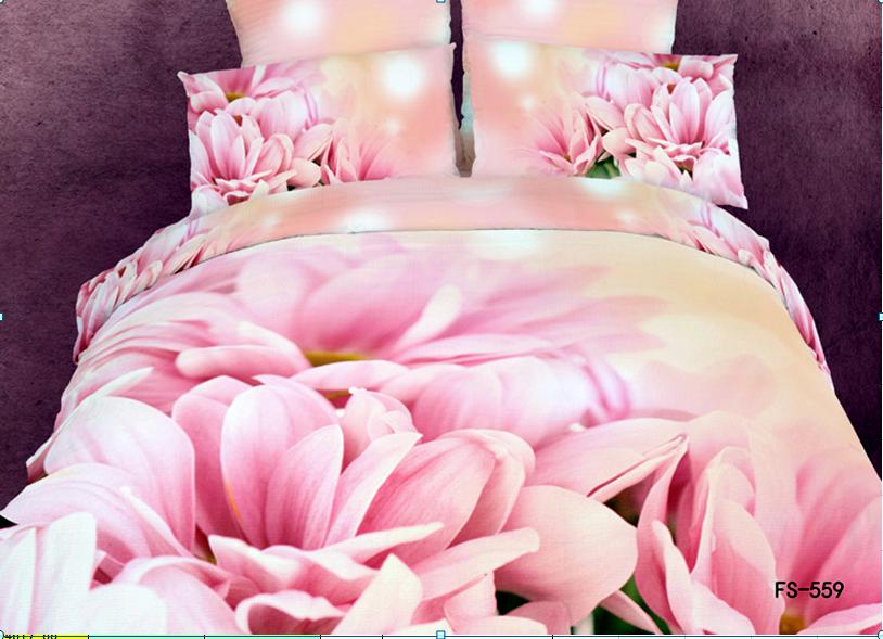 3D pink wedding flower floral bedding set queen size quilt duvet covers bed bedsets sheets bedspreads bedsheet linen 100% cotton(China (Mainland))