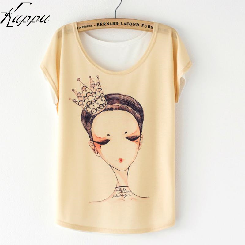2016 Summer Casual Women Loose Batwing Sleeve Floral T-Shirts Cute Flag/Cat/Sunflower/Princess Pattern Girls T-shirt Print Tops(China (Mainland))