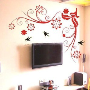 Wall stickers flower restaurant sofa flies so tv background wall(China (Mainland))