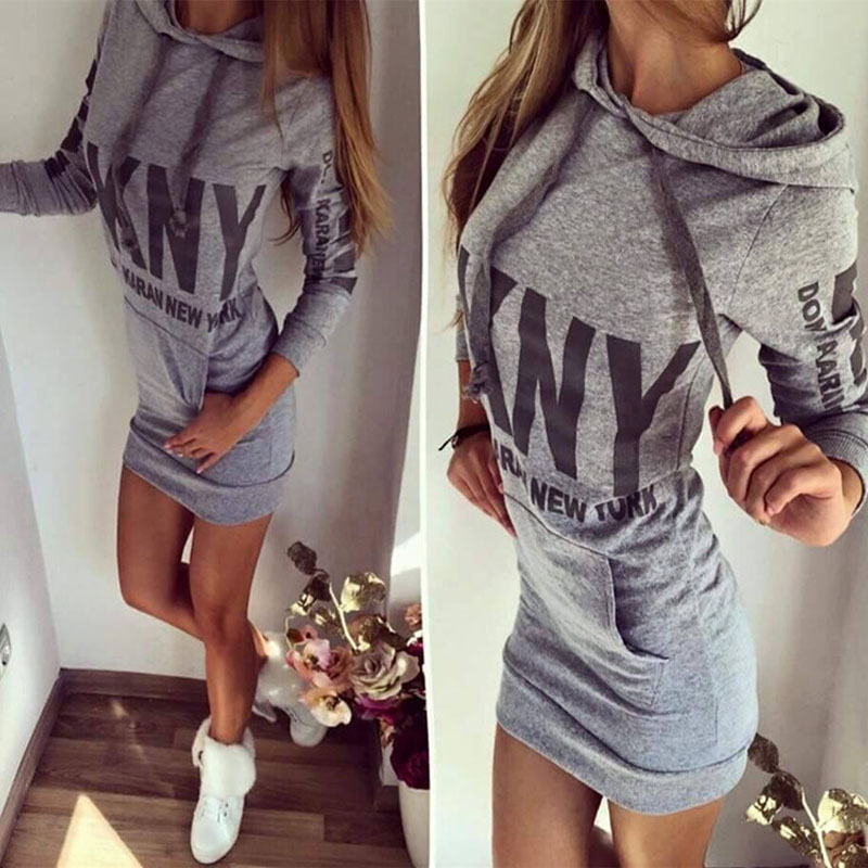 New 2015 Autumn Winter Women Dress Casual Long Sleeve Hooded Letter Print Slim Dresses with Pockets Plus Size Vestido Robe 10607