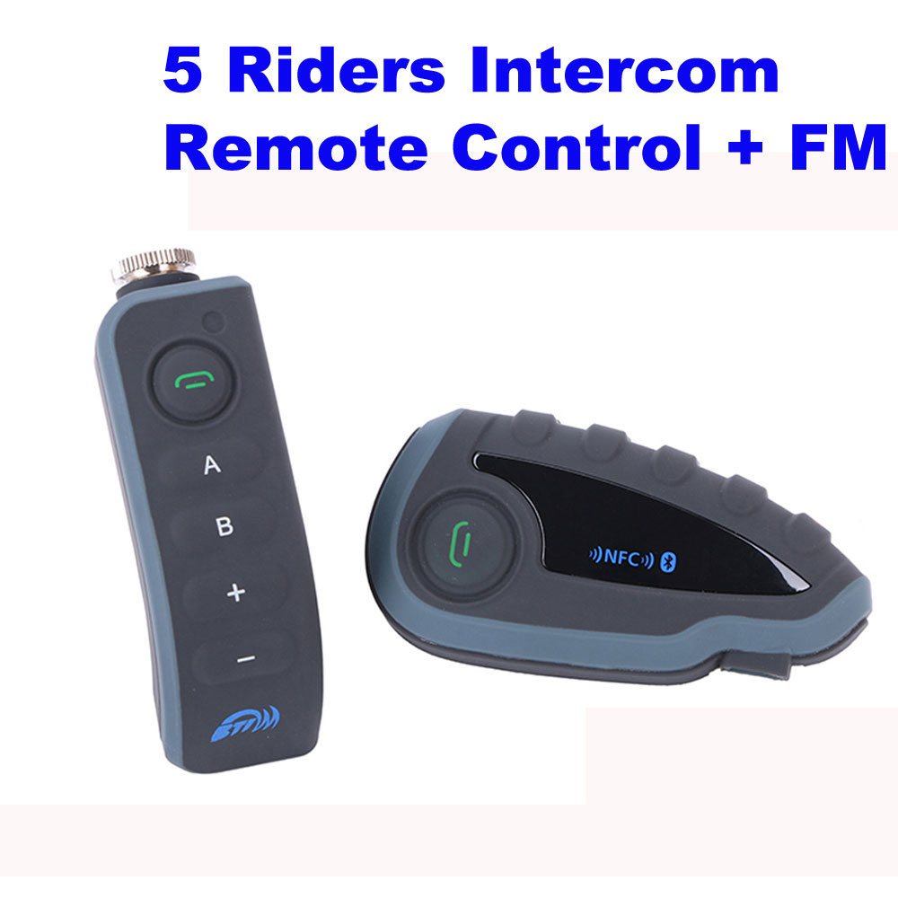 V8 BT Interphone with Remote Controller FM NFC 5 Riders Bluetooth Motorcycle Intercom 1200M Intercomunicador V8 motos<br><br>Aliexpress