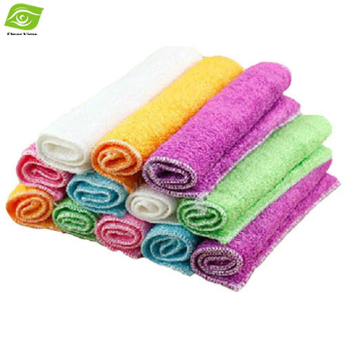 2pcs/Lot Natural Bamboo Fiber Car/Glasses Cleaning Cloth 18*16cm Multi Function Kitchen Towels Magic Dish Cloth Multi Color(China (Mainland))