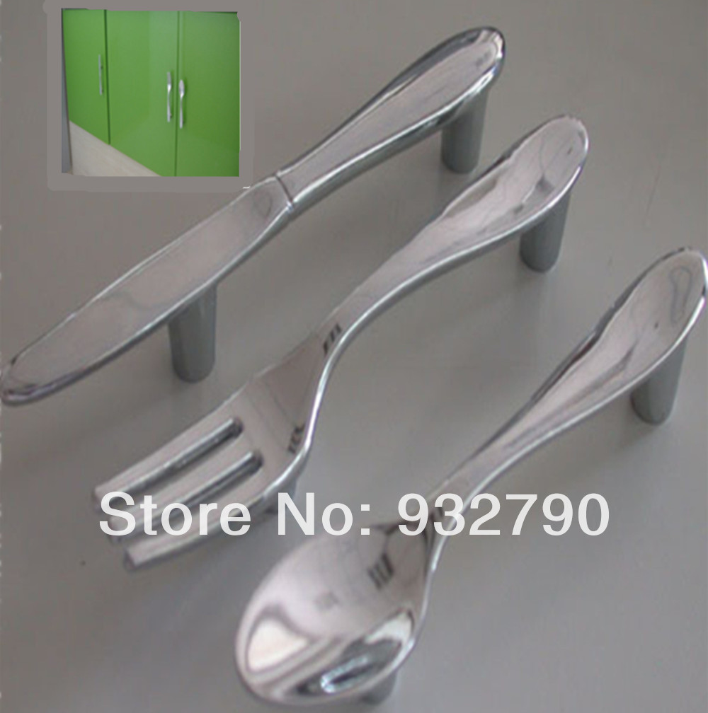 Creative Spoon Knife Fork Kitchen Cabinet Lockers Closet Drawer Handle Handles Pulls Knob 76mm Home(China (Mainland))
