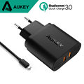 AUKEY 36W Dual USB Port Travel Wall Charger With Qualcomm Quick Charge 3 0 for iphone