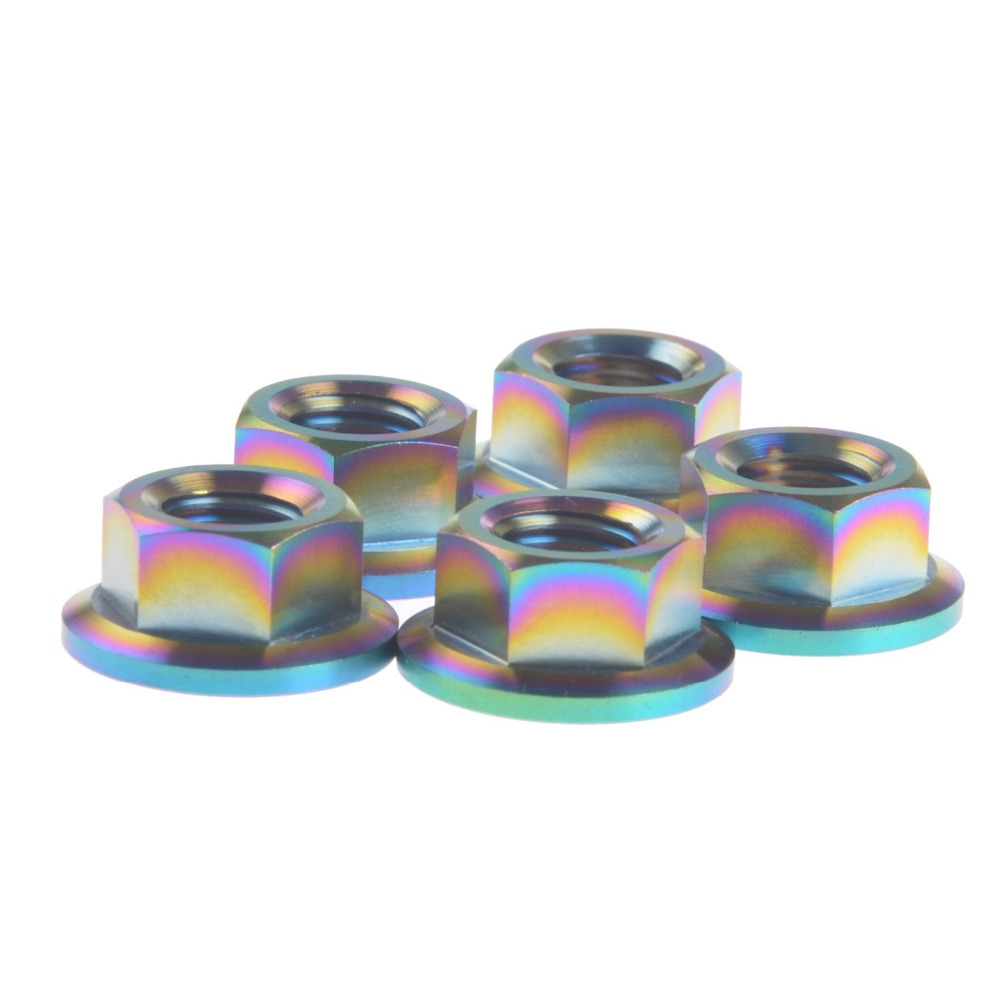 DIN 6923 Metric M10x1.5mm TC4 Titanium Hex Head Flange Nut Pack of 5 for Car and Motorcycle  Colorful<br><br>Aliexpress