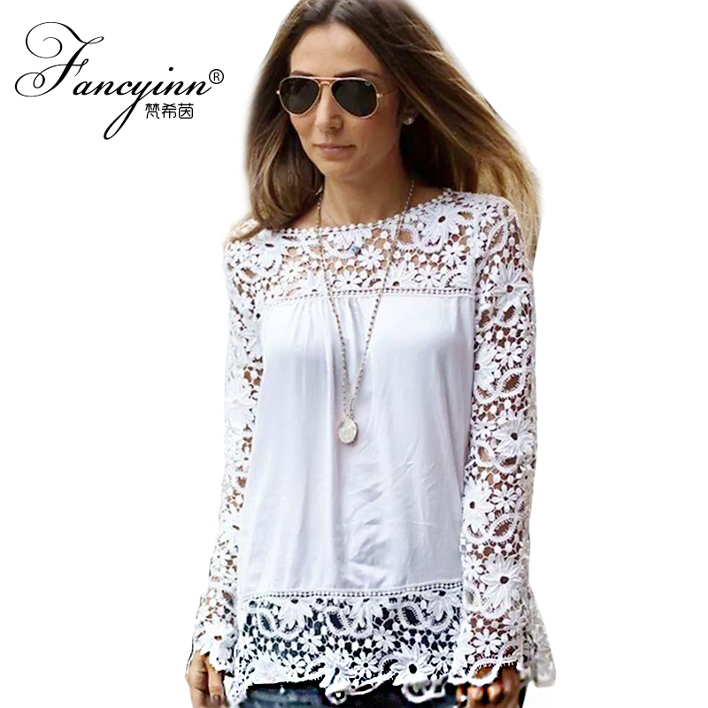 Wonderful Eugen Womens Tops Slim Chiffon Long Sleeve Women Shirts Lace Blouses
