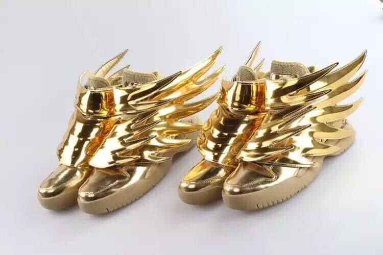 Gold Boots With Wings Boots Woman Man Black Gold