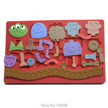 Factory Life Robot Monster Fondant Mold Chocolate Mold Wedding Tools Silicone Mold Kitchen Accessories Cake decoration Tools