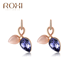 ROXI Chrismas Gift Crystal Purple Earrings Rose Gold Plated Rhinestone Dangles Earrings For Women Brincos Boucle D'Oreille(China (Mainland))