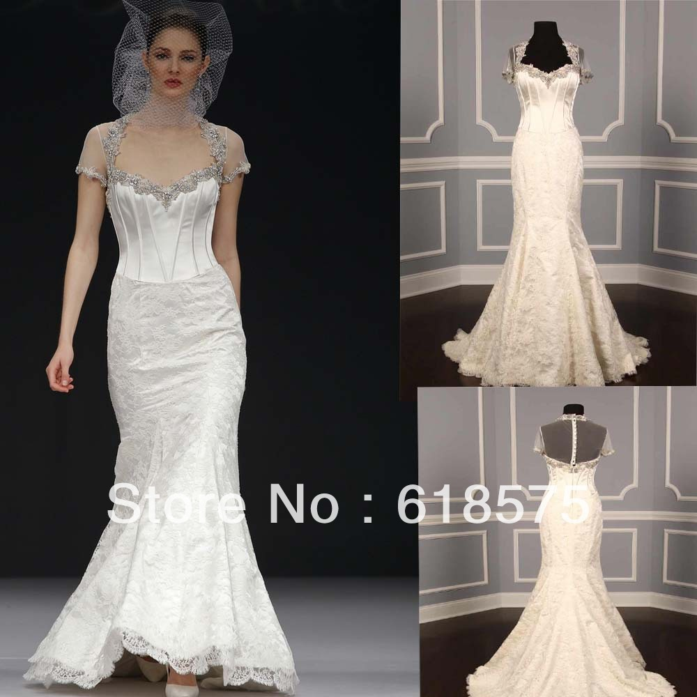 2012 modest mermaid v neck beaded lace with short sleeve for Vintage beaded lace wedding dress