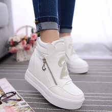 2017 Women Boots Wedge Concealed Heel High Top Platform Ankle Boots Lace-Up Rhinestone Boots Zipper Shoes Size 35-39 Free Ship(China (Mainland))