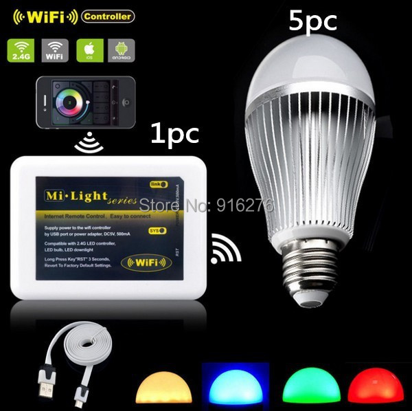 5x Milight 2.4G E27 Wifi Bulb 9W RGB White/Warm White RGBW Led Bulbs Light +1x WIFI Controller for iPhone iOS Android Smartphone<br><br>Aliexpress