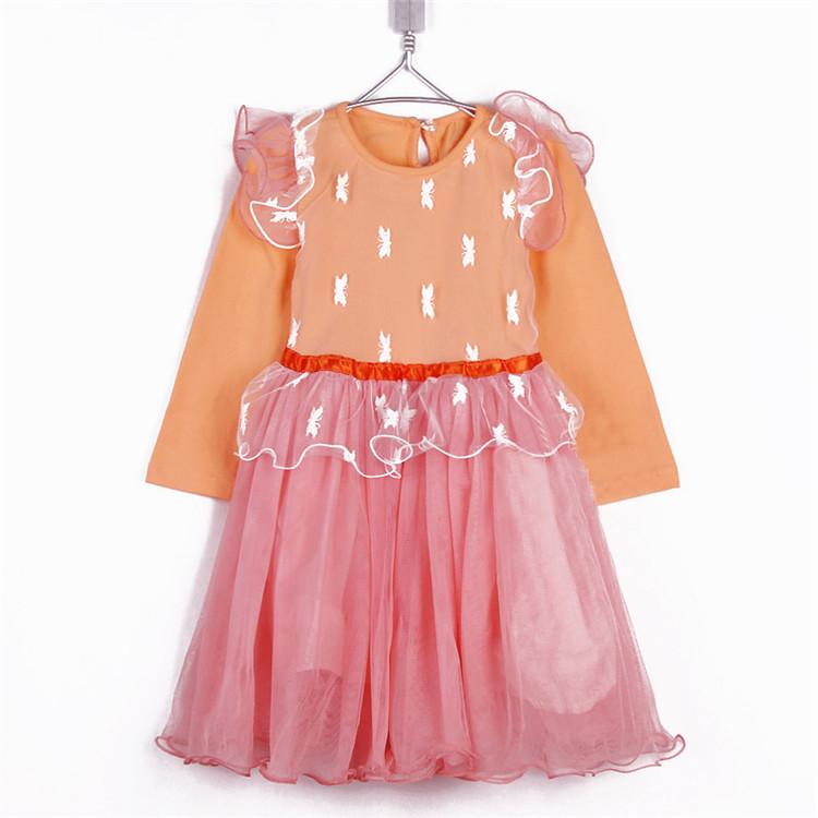 2015 autumn lace decoration girls clothing baby long-sleeve dress puff A1149(China (Mainland))