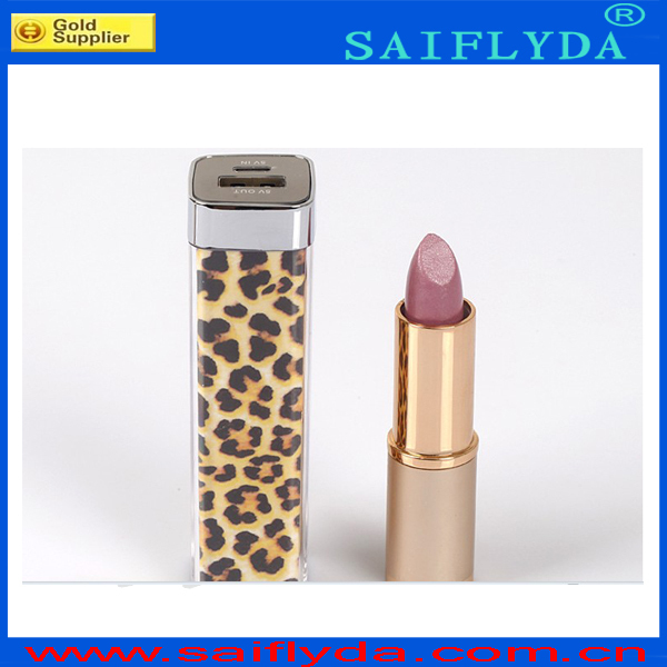 Free shipping DHL 100pcs/lot Leopard lipstick power bank 2600mAh Power Charger Battery Bank Cell Phones and Digital Devices