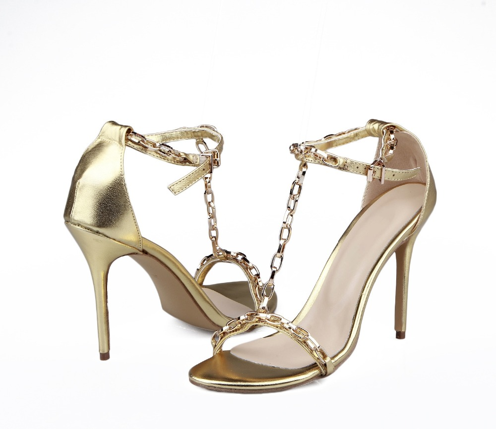Фотография High quality golden sheepskin shoes woman, chain decoration sandals, thin heels pumps with round toe