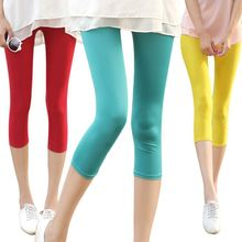 2016 summer new female candy color  seventh short leggings / Woman's high waist milk silk fashion leggings shorts