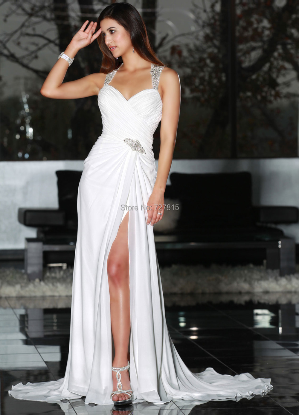 bohemian wedding dresses sexy high slit vestidos de novia