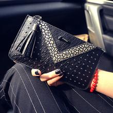 Long wallet handbag fashion lady wallet with slim wallet phone package envelope bag rivets tassel(China (Mainland))