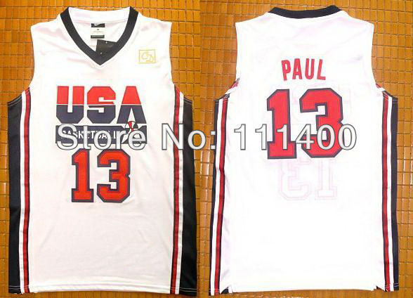 Free Ship USA Olympic Basketball Jersey #13 Chris Paul Blue white 1992 Olympics USA Dream Team Size:S-XXXL Can Mix(China (Mainland))