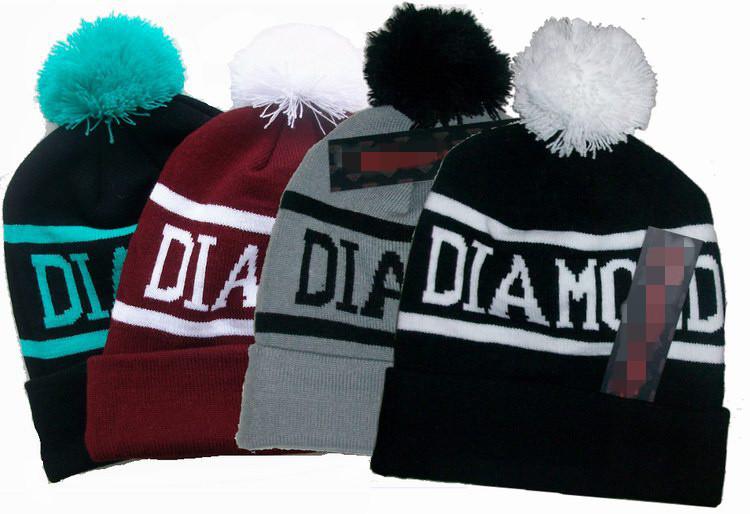 Hot! Diamond Beanie Hat Cap with Pom Touca Gorro Knitted Winter Hats Beanies Sport Skullies toucas de inverno Toca for Men Women(China (Mainland))