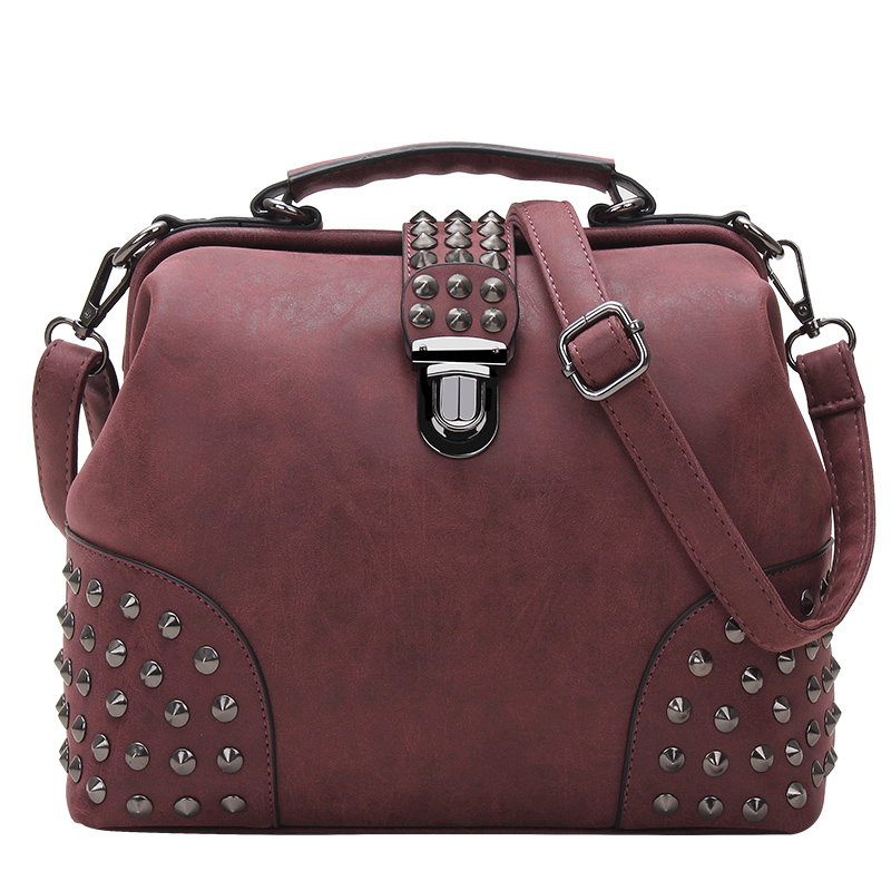 Rivet Women Leather Handbags Punk Women Messenger Bags Large Women Bag Luxury Handbags Cross-Body Tote Bag Leather Shoulder Bag(China (Mainland))