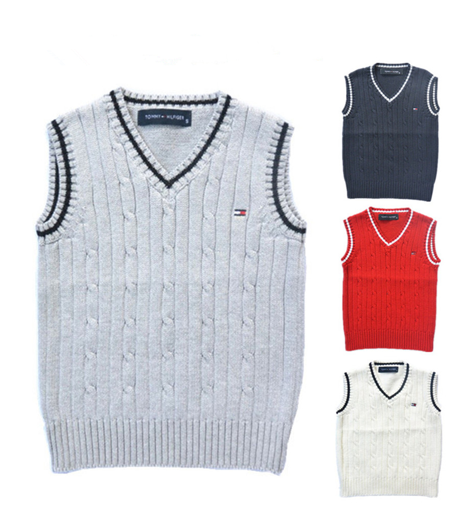 New 2015 Spring autumn 100% cotton baby cardigan boy's V-neck sweater vest kids waistcoat vest girls boys sweaters for 2-6T(China (Mainland))