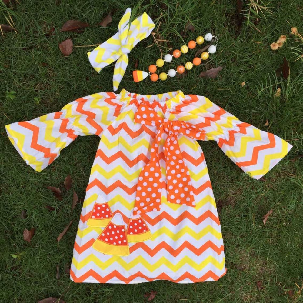 2015 new professional halloween design latest style  girls yellow/orange chevron dress with necklace and headband(China (Mainland))