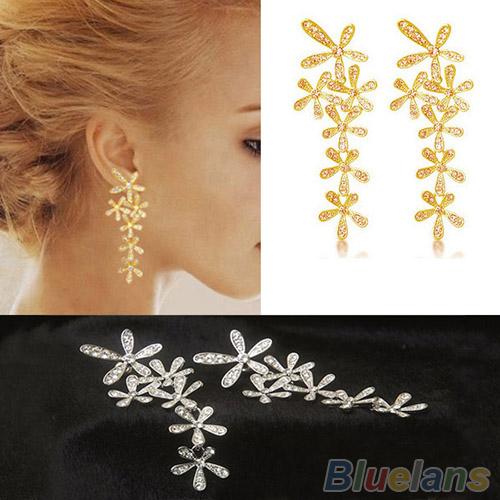 Women 2015 New Fashion Full Rhinestone Crystal Long Snowflake Flower Dangle Drop Tassel Earrings Gold Silver Free Shipping 1H4C(China (Mainland))