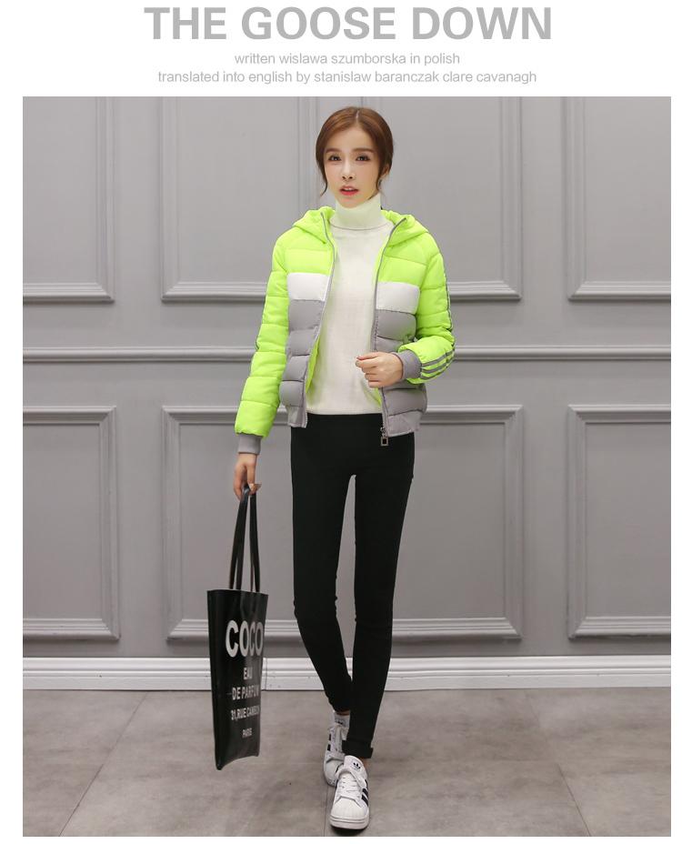 Скидки на Женская мода осень зимняя куртка с длинным рукавом с капюшоном тонкий полосой парки случайный градиент цвета стиль короткий хлопок ватник