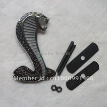 Silver Mustang Cobra Shelby Snake Front Grill Grille Alloy Car Emblem Badge Metal alloy(China (Mainland))
