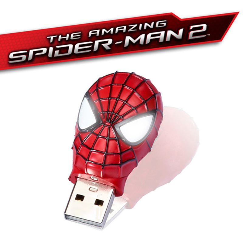 LED disk 2015 New Spider-Man 8G 16G 4G 64G metal superman Real Capacity Pendrive Pen Drive download/memory Stick Usb Flash Drive(China (Mainland))
