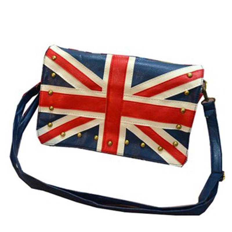 Free shipping 2014 british style rivet bag navy torx flag orgnan bag national flag bag messenger bag women(China (Mainland))