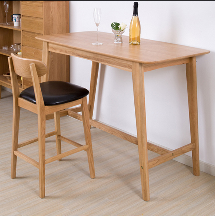 Simple household bar table modern contracted solid wood white oak sitting room table nordic - Nordic style furniture ...