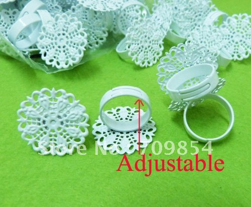 free shipping!!!120pcs/lot 25mm pad white tone adjustable filigree ring base jewelry findings jewelry accessories<br><br>Aliexpress