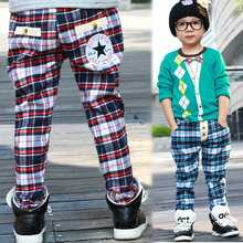 boys pants Leisure plaid pants grid boy's harem pants spring autumn  kid's trousers for school pants children Trousers for teen(China (Mainland))