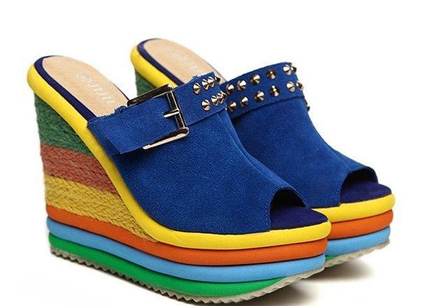 13CM 2015 Size 34-39 Women Genuine Leather Rivet Buckle Wedges Rainbow Heels Slides Girls Sweet Trifle Beach Sandals B2196