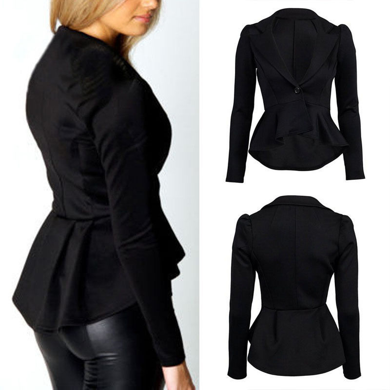 New Womens Long Sleeve OL Jacket Suit Blazer Dovetail Coat Lapel One Button Tops(China (Mainland))