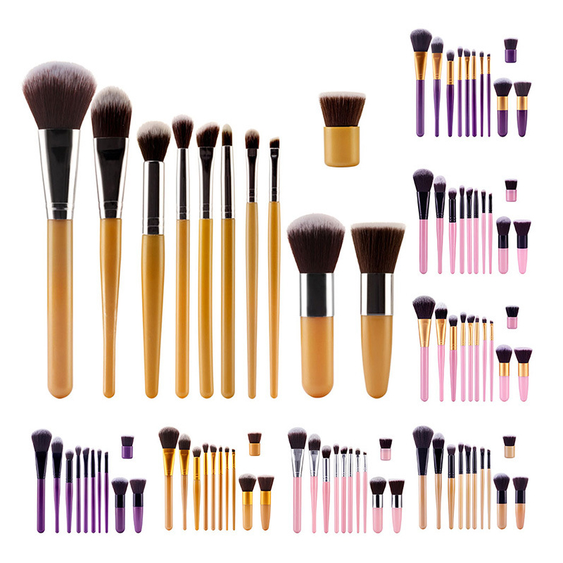 synthetic high quality foundation powder professional colorful makeup brush set tools make up eyeshadow brush kit 11pcs brushes(China (Mainland))