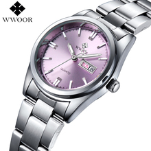 New Brand Relogio Feminino Date Day Clock Female Stainless Steel Watch Ladies Fashion Casual Watch Quartz Wrist Women Watches