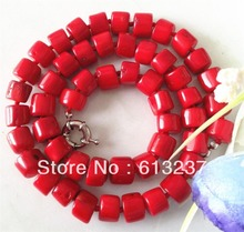 hot free Shipping new 2014 Fashion Style diy Rare Natural 8-10mm Red Sea Coral Necklace 20.5'' MY4661(China (Mainland))