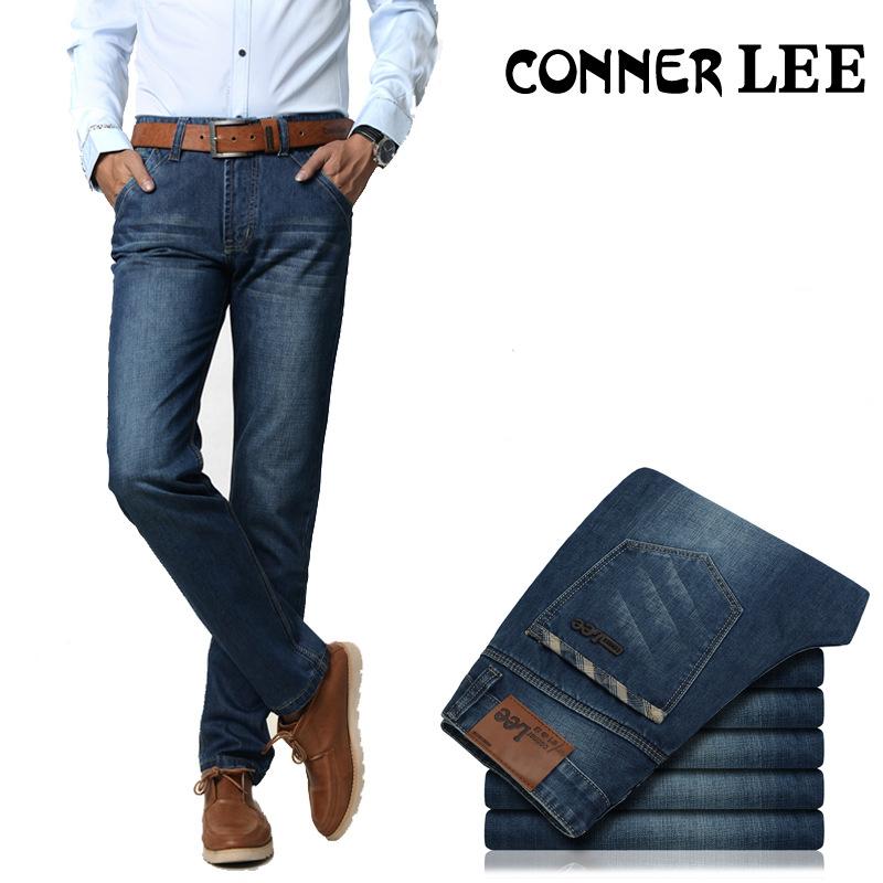 CONNER LEE jeans men back pocket stripe pants male Casual straight Denim 100% cotton Skinny jean mens - JACK ANTONG SHOP store