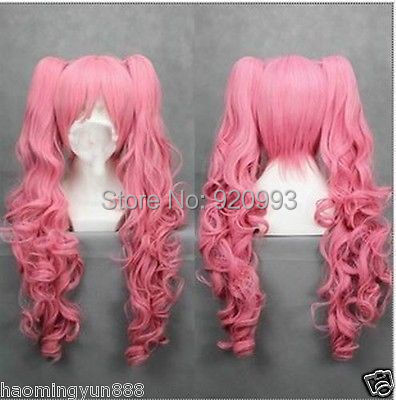 WQ &Wholesale&>>Long pink Cosplay Straight Wig With Two Clip On Ponytails