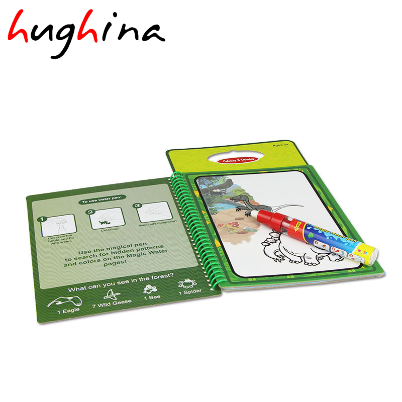 Hughina Magic Water Drawing Book With 1 Pen Intimate Painting Dinosaur Themed Board Educational Toy For Kid Children